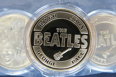 The Beatles Gold Commemorative Collectors Coins + Plastic Capsules ~UK SELLER~