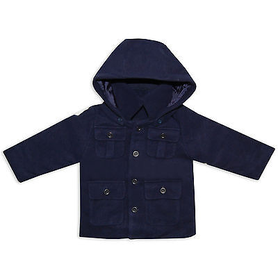 Little Gent Baby Boys Toddler Navy Duffle Coat  Jacket 6-24 Months,2-6 Years