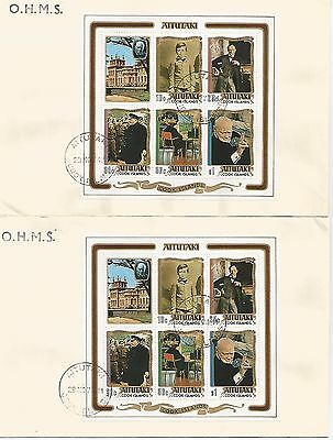 Two Ohms Aitutaki Covers With Stamps Of Winston Churchill 1974 Ref 385