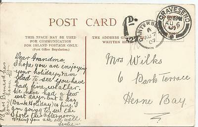 GRAVESEND 1907 POSTED WITHOUT STAMP WITH 1d TO PAY CACHET REF 383