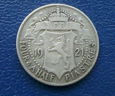1921 Cyprus silver 4 1/2 Piastres