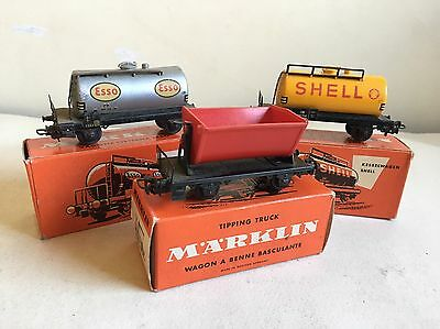 MARKLIN- 2 PETROLEUM WAGONS and 1 TIP WAGON - ALL BOXED