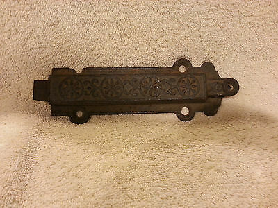Antique Cast Iron Slide Bolt Lock Barn Door Latch Spring Loaded Primitive OLD