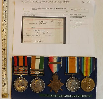 Military KSA QSA Queens South Africa Medal Mons Star Trio Gloucester Regt (2556)