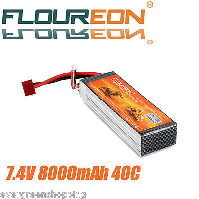 2S 7.4V 8000mAh 40C Lipo RC Battery Pack Deans for RC Helicopter Hobby Airplane