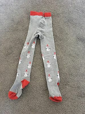 Girls Grey Snowman Christmas Tights From Next Age 3-4 Years