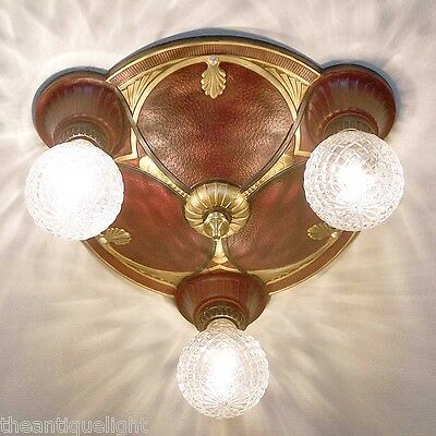 741 Vintage 20s 30s Ceiling Light Lamp Fixture HALL BEDROOM 3 lights 1 OF 3