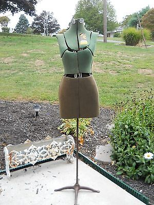 Vintage White size a  Adjustable Dress Form with Cast Iron Base
