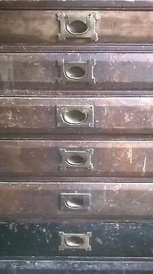 Antique early C19th shop counter chest of drawers plan chest, original condition