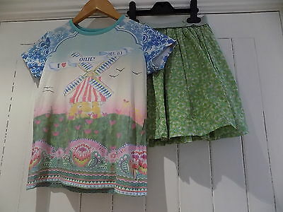 Oilily girls t shirt / top & skirt set size 9-10 years 10y