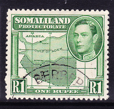 SOMALILAND PROTECTORATE Geo VI 1938 SG101 - 1r green - very fine used. Cat £90