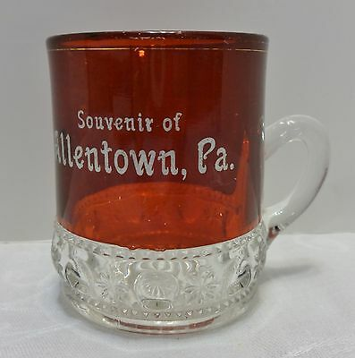 Antique Allentown PA Souvenir Ruby Red Flashed Small Mug Fair Stained EAPG