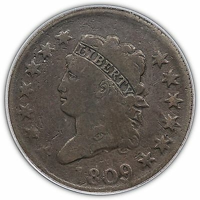 1809 Classic Head Large Cent, key date, S-280, PCGS VG10 CAC