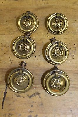 6 Victorian/Georgian-style Pressed Brass Reclaimed Drawer Pulls