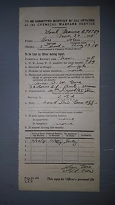 Rare Original WWI 1918 Officers Personal Report Chemical Warfare Services