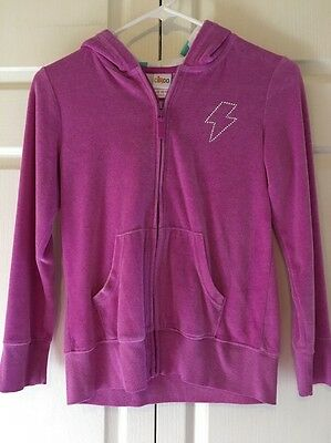 Girls, Purple Hoodie, Circo, Size 10/12, Velour with Silver Lightning Bolt