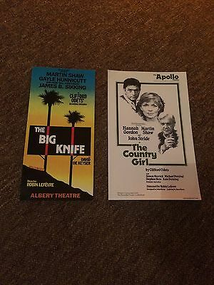 Martin Shaw - theatre flyers. The Professionals. Gayle Hunnicutt, Hannah Gordon