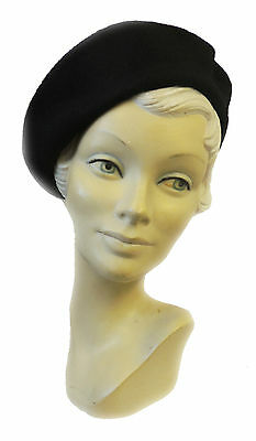 *New Ladies Black Vtg WW2 Victory 1940s style Homefront Classic Beret Hat*