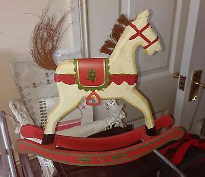 A Traditional Wooden Rocking Horse Christmas Decoration Distressed Look