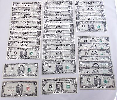 $47FV Mixed Currency Lot $1 $2 Federal Reserve Notes w/ UNC/Consecutive/Error