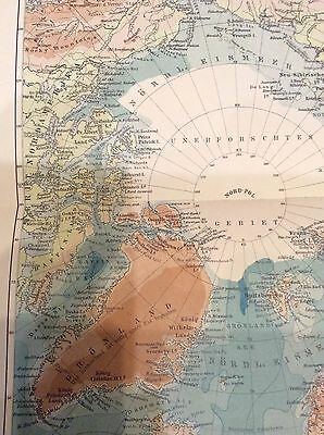 Antique Map-NORTH POLE COUNTRIES-GREENLAND-Meyers-1895
