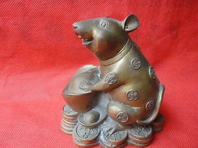 China Bronze Chinese Zodiac Year Family Mouse Mice Pull Carry Wealth Bag Statue
