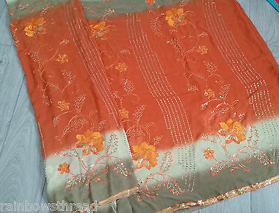 Orange antique gold embrioder Saree sari suit kameez indian party wedding lengha