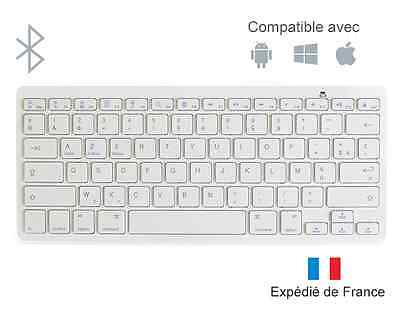 Clavier Sans Fil Bluetooth Blanc Compatible iOS Android Windows Apple