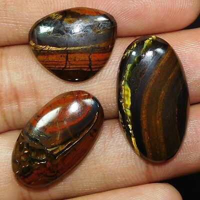 57.60 Cts. 100% NATURAL DESIGNER IRON TIGER LOT CABOCHON LOOKING GEMS PE406