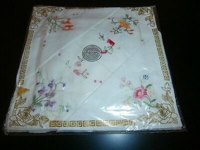 SIX VINTAGE WHITE COTTON LADIES HANDKERCHIEFS ~ with FLORAL EMBROIDERY PACKAGED