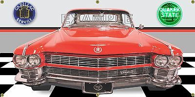 1964 Cadillac Fleetwood Special Red Car Garage Scene Banner Sign Art Mural 2 X 4