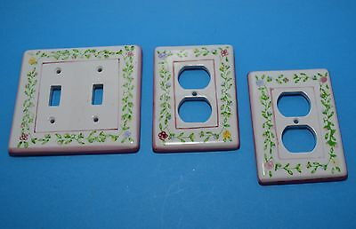 Ceramic floral  rose pink double LIGHT SWITCH PLATE & 2 OUTLET PLUG COVER