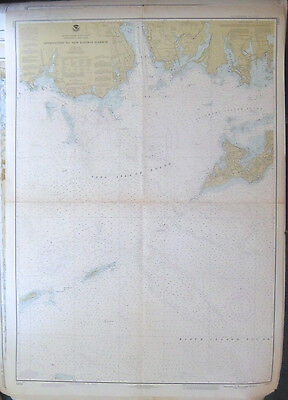 """Vintage 1980 NOAA NAUTICAL CHART #13212 Approaches to New London Harbor 34""""x48"""""""