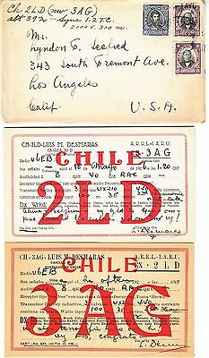 (2) 1926 Chile QSL Cards & Cover.