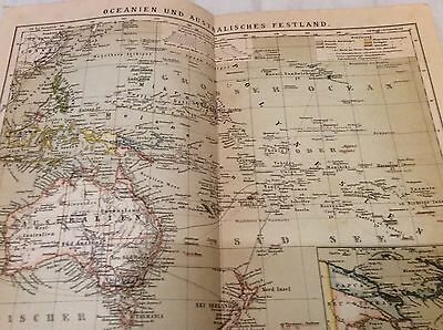 Antique map print 1890 Philippinen Papua  New Guinea Polynesian Islands