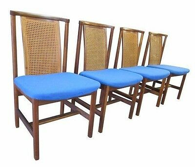 Set of 4 Mid Century Danish Modern Cane Back Wenger Style Dining Chairs