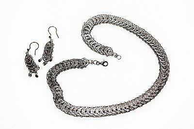 925 Sterling Silver Articulated Filigree Necklace & Dangly Pierced Earrings Set