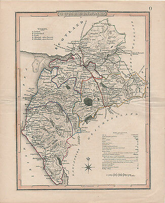 An antique map of Cumberland by Roper & Cole, 1805