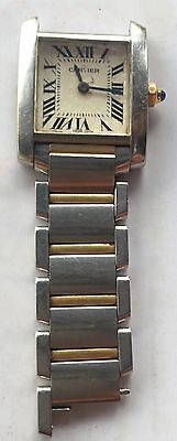 Cartier Tank Francaise 2384 Steel And Gold Watch As Is For Parts Or Repair
