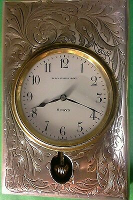 Black starr & frost antique travel clock, sterling silver, for repair , vintage