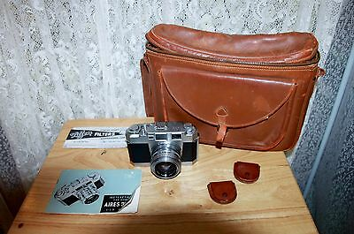 Vintage Aires 35-III L Camera with Coral 1:1.9 Lens plus 2 filters and bag