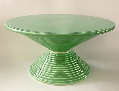 Royal Copenhagen Denmark Green Fajance Cake Stand By Ursula Munich-Petersen VHTF