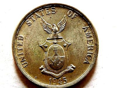 1945-S Philippines Fifty (50) Centavos Silver Coin