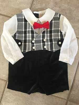 Vintage Baby B/W Plaid Red Nana's  Pet Designer Collection Shortall 12 Months