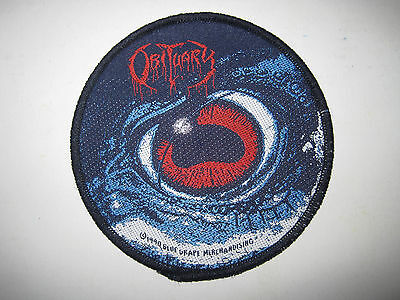 """OBITUARY """"Cause Of Death / Eye"""" Patch org.Blue Grape 1990 Bolt Thrower Dismember"""