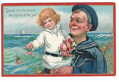 1909 – Sailor Holding His Little Girl – Decoration Day - Tuck #173 – Embossed