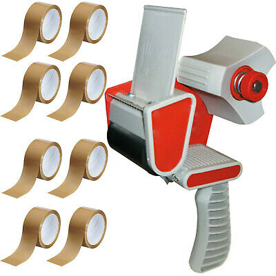 TAPE GUN DISPENSER + 8 HUGE ROLLS OF BROWN BUFF 48MM x 66M PARCEL PACKING TAPE