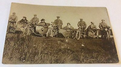 Early Real Photo Postcard 4 Motorcyles With Sidecars