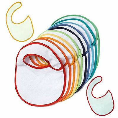 1 3 5 10 White Colour Rim Plain Baby Bibs Job Lot Bulk Wholesale Blank Hook Loop