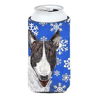 Bull Terrier Blue Snowflake Winter Tall Boy bottle sleeve Hugger 22 To 24 oz.